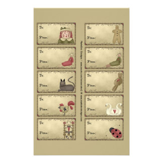 Primitive Things Gift Tags on a Sheet - D5