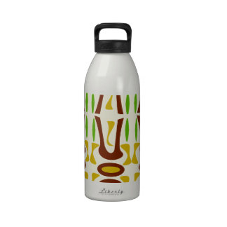 Primitive Tiki Jungle Pattern Reusable Water Bottle