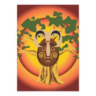 Primitive Tribal Mask on Balboa Tree Glowing Sun 5x7 Paper Invitation Card