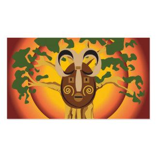 Primitive Tribal Mask on Balboa Tree Glowing Sun Business Cards