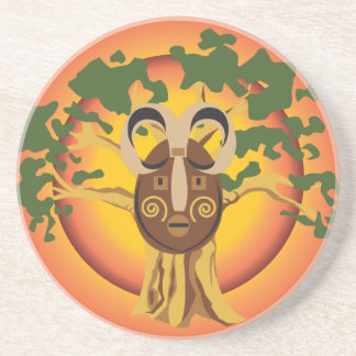 Primitive Tribal Mask on Balboa Tree Glowing Sun Coasters