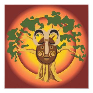 Primitive Tribal Mask on Balboa Tree Glowing Sun Invitation