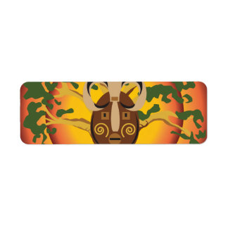 Primitive Tribal Mask on Balboa Tree Glowing Sun Label