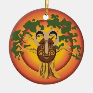 Primitive Tribal Mask on Balboa Tree Glowing Sun Christmas Ornaments