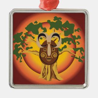 Primitive Tribal Mask on Balboa Tree Glowing Sun Christmas Tree Ornaments