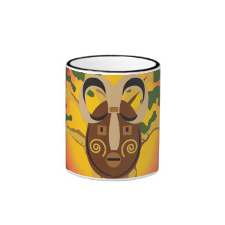 Primitive Tribal Mask on Balboa Tree Glowing Sun Ringer Mug
