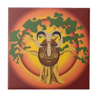 Primitive Tribal Mask on Balboa Tree Glowing Sun Ceramic Tile