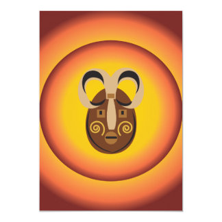 Primitive Tribal Mask Sun Glow Design Card