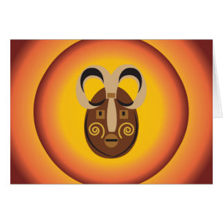 Primitive Tribal Mask Sun Glow Design Card