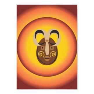 Primitive Tribal Mask Sun Glow Design Personalized Announcement