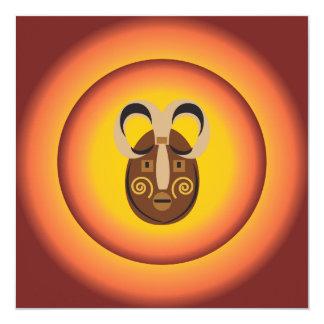 """Primitive Tribal Mask Sun Glow Design 5.25"""" Square Invitation Card"""