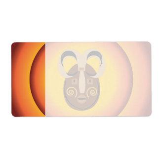 Primitive Tribal Mask Sun Glow Design Label