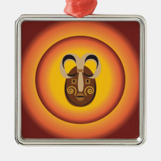 Primitive Tribal Mask Sun Glow Design Christmas Tree Ornament