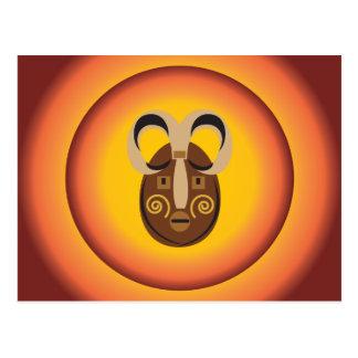 Primitive Tribal Mask Sun Glow Design Postcard