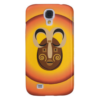 Primitive Tribal Mask Sun Glow Design Samsung Galaxy S4 Cover