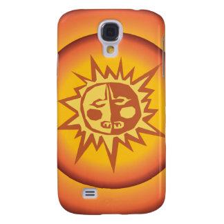 Primitive Tribal Sun Design Red Orange Glow Galaxy S4 Case