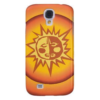 Primitive Tribal Sun Design Red Orange Glow Galaxy S4 Cover