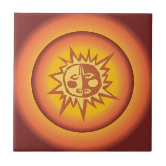 Primitive Tribal Sun Design Red Orange Glow Ceramic Tiles