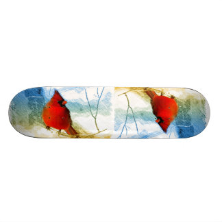 Primitive western country christmas red cardinal skateboard