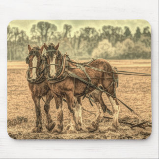 Primitive Western country farm animal draft horses Mouse Pad