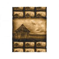 Primitive western country farmhouse old barn fleece blanket
