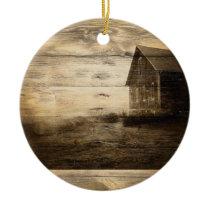 primitive western country old barn farmhouse cabin ceramic ornament