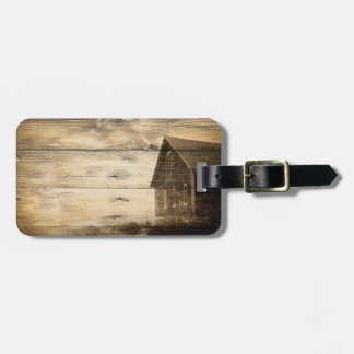 primitive western country old barn farmhouse cabin luggage tag