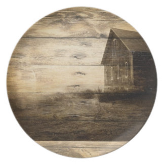 primitive western country old barn farmhouse cabin plate