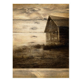 primitive western country old barn farmhouse cabin postcard