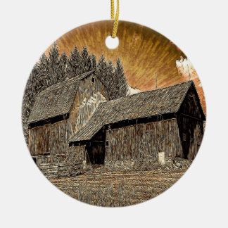 Primitive Western country old barn farmhouse Ceramic Ornament