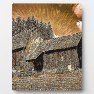 Primitive Western country old barn farmhouse Plaque
