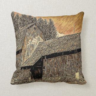 Primitive Western country old barn farmhouse Throw Pillow