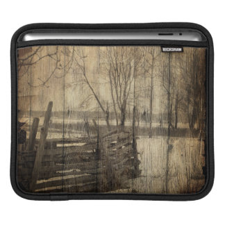 Primitive western country old wood fence farm iPad sleeve