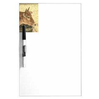 Primitive Western Country Ranch Brown Angus Cow Dry Erase Board