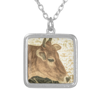Primitive Western Country Ranch Brown Angus Cow Silver Plated Necklace