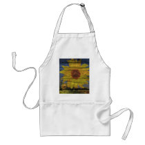 Primitive Western Country Wood Grain Sunflower Adult Apron