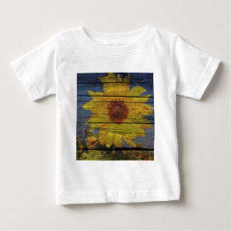 Primitive Western Country Wood Grain Sunflower Baby T-Shirt