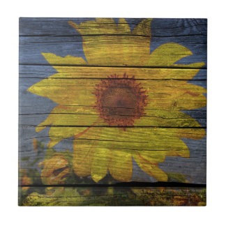 Primitive Western Country Wood Grain Sunflower Ceramic Tile