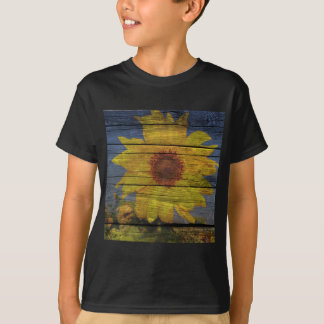 Primitive Western Country Wood Grain Sunflower T-Shirt