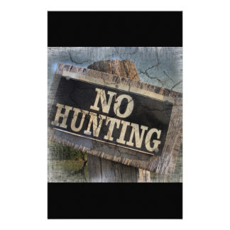 Primitive western Farm Post no hunting signs Stationery