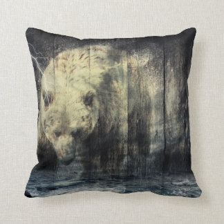 Primitive Western Woodgrain Woodland Grizzly Bear Throw Pillow