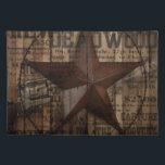 "primitive wild western country Texas Lone Star Cloth Placemat<br><div class=""desc"">primitive wild western country Texas Lone Star home accessories. Western country cowboy accessories. Texas Star accessories. Rustic country home accessories. Cowboy wedding favors. Barn wedding favors.</div>"