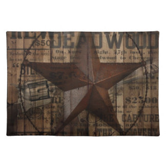 primitive wild western country Texas Lone Star Cloth Placemat