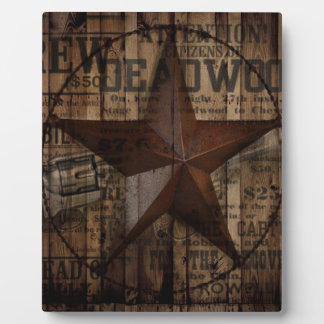 primitive wild western country Texas Lone Star Plaque