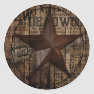 primitive wild western country Texas Star cowboy Classic Round Sticker