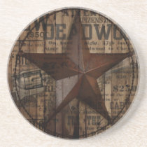 primitive wild western country Texas Star cowboy Coaster