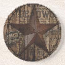 primitive wild western country Texas Star cowboy Coaster