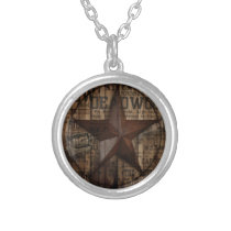 primitive wild western country Texas Star cowboy Silver Plated Necklace