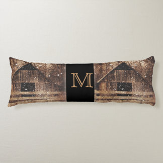 Primitive Winter Snow Country Rural Old Barn Body Pillow