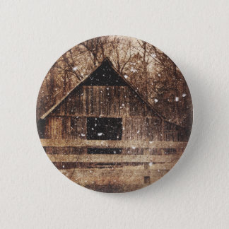 Primitive Winter Snow Country Rural Old Barn Button